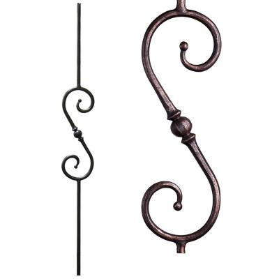 Tuscan Round Hammered 44 in. x 0.5625 in. Oil Rubbed Bronze Single Sphere Scroll Solid Wrought Iron Baluster