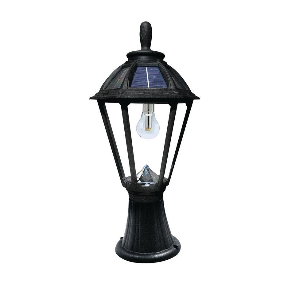 Polaris Solar Medium 1-Light Black Resin Integrated LED Outdoor Solar Post/Wall Light with Warm-White LED's