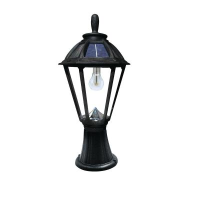 Polaris Solar Medium 1-Light Black Resin Integrated LED Outdoor Solar Post/Wall Light with Warm-White LED's