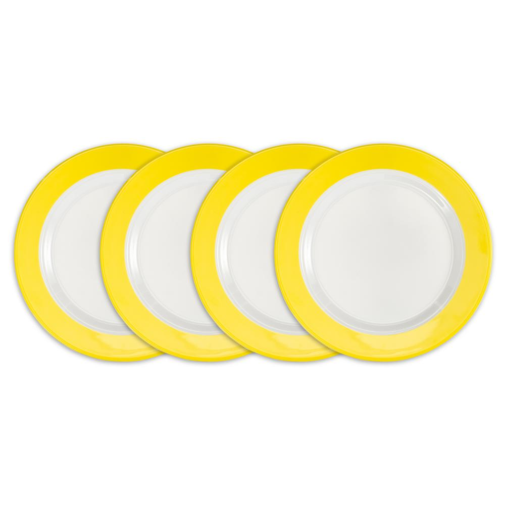 Bistro 4-Piece Yellow Melamine Salad Plate Set