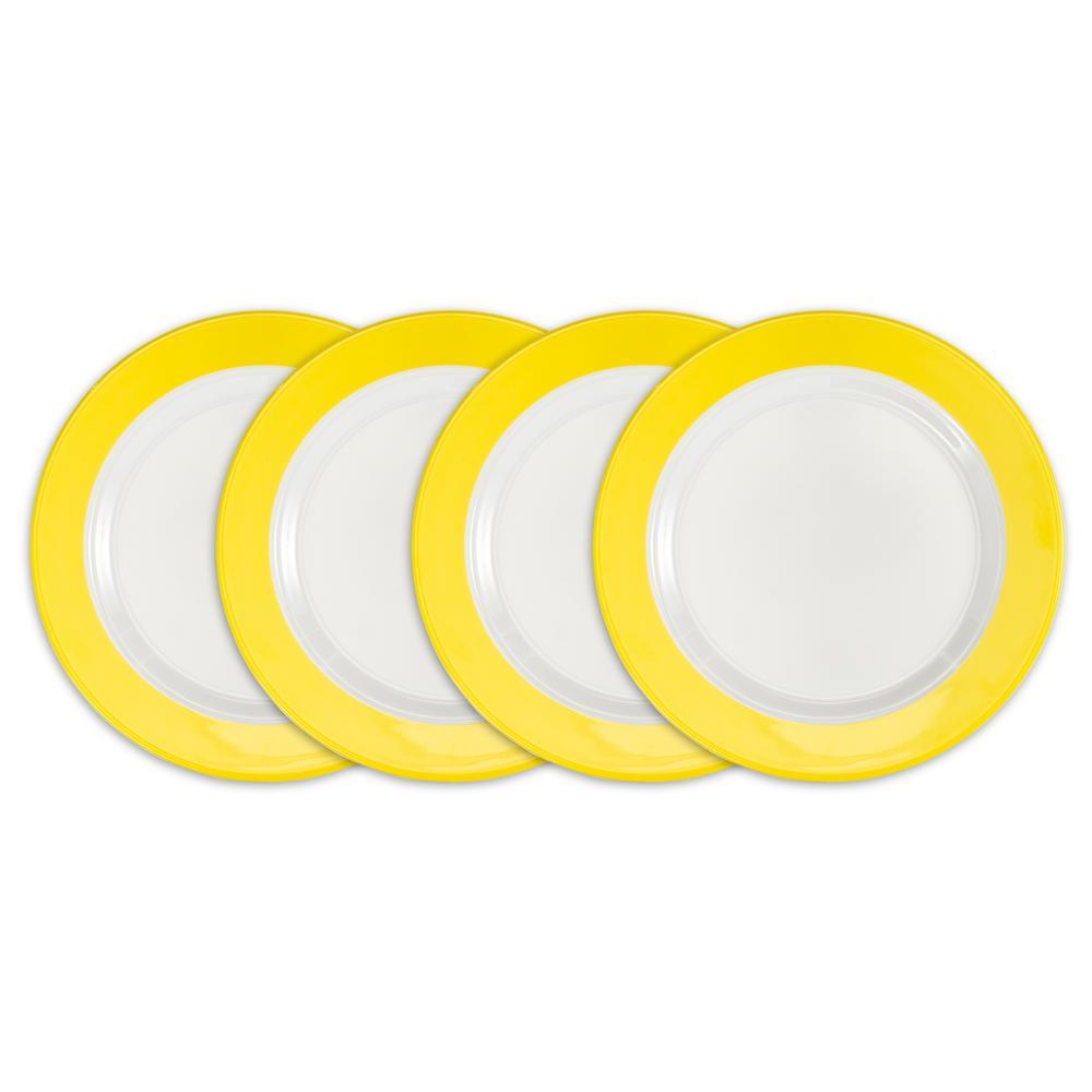 Q Squared Bistro 4-Piece Yellow Melamine Salad Plate Set BISYE02