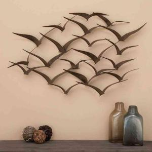 Litton Lane 47 In X 26 Brown Iron Flying Birds Wall