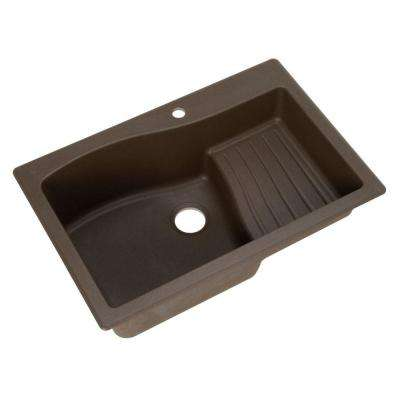 Ascend Drop-In/Undermount Granite 33 in. 1-Hole Single Bowl Kitchen Sink in Espresso