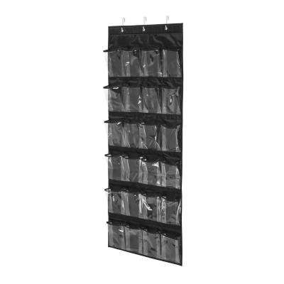 Over-the-Door 24-Pocket Black Polyester Shoe Organizer