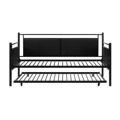 Andria Black Metal and Upholstered Daybed and Trundle