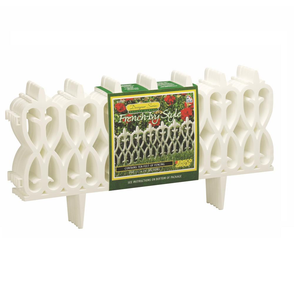 White Resin Deluxe French Ivy Garden Fence 15 Pack