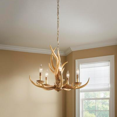 5-Light Natural Antler Hanging Chandelier