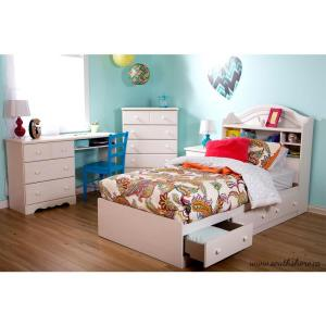 Summer Breeze Desk with 3-Drawer in White Wash