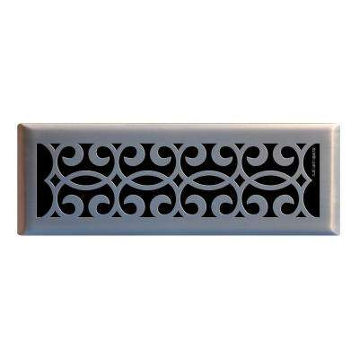 4 in. x 14 in. Classic Scroll Floor Register in Brushed Nickel