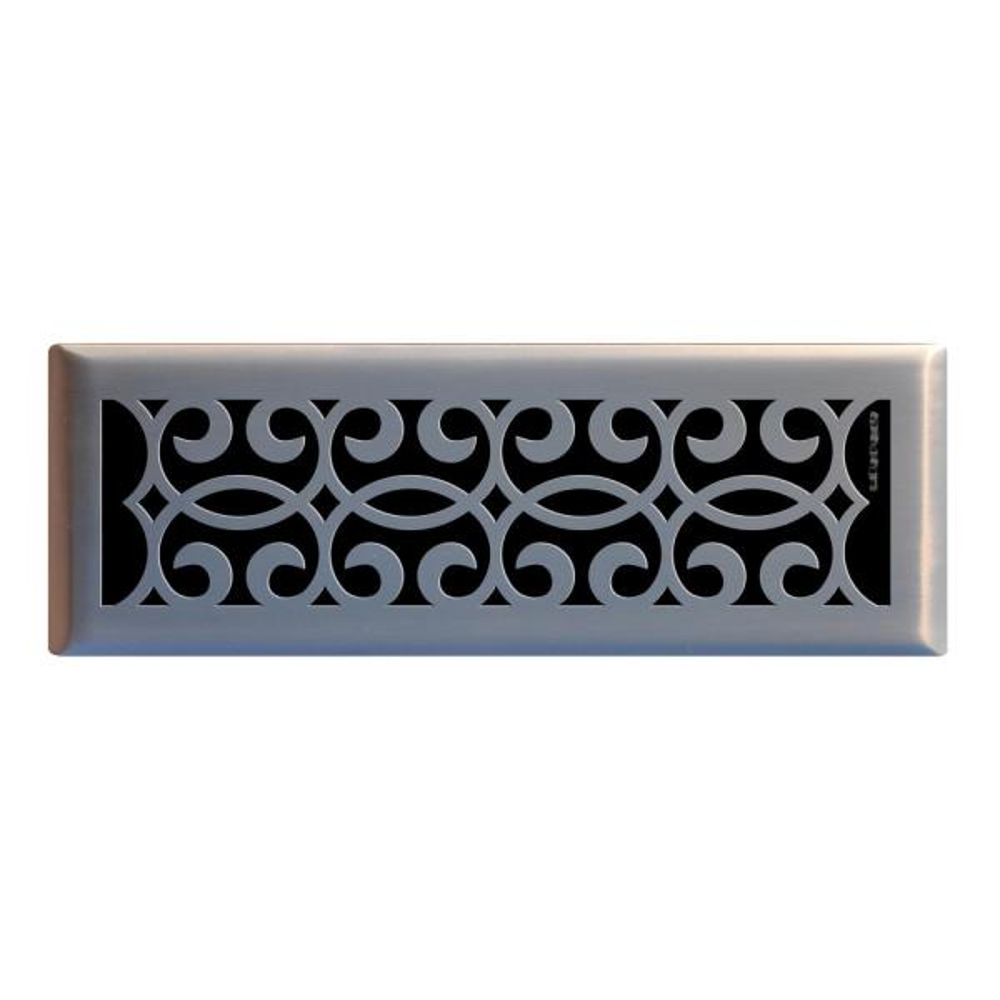 Classic Scroll 4 in. x 14 in. Steel Floor Register in Brushed Nickel