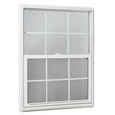 35.25 in. x 47.25 in. Single Hung Vinyl Window Insulated with Grids, White