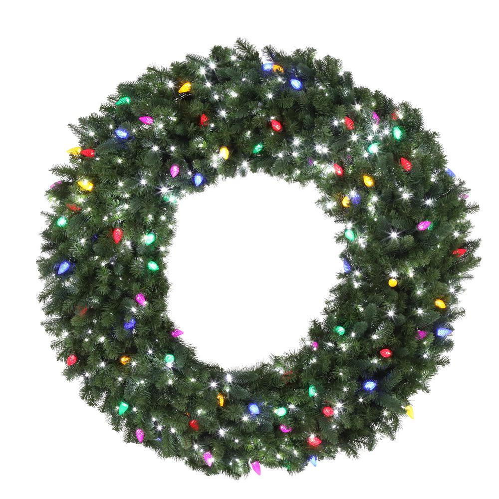 Home Accents Holiday 60 in. LED Pre-Lit Artificial Christmas Wreath ...