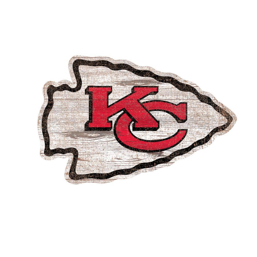 Nfl Indoor Kansas City Chiefs Distressed Logo Cutout Wood Sign N0843