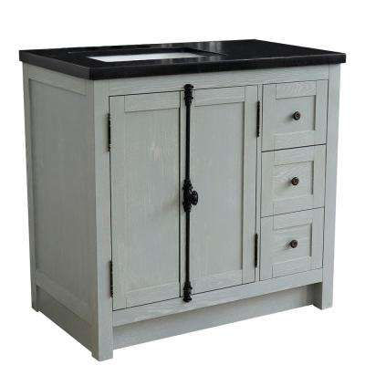37. in. W x 22 in. D x 36 in. H Bath Vanity in Gray Ash with Black Granite Vanity Top and Left Side Rectangular Sink