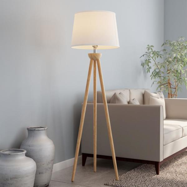 Modern Natural Wood Oak Tripod Led