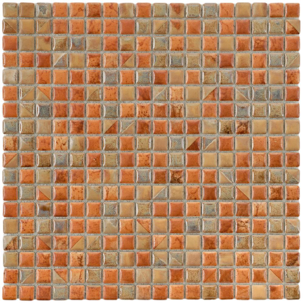 Merola Tile Rustica Mini Tundra Beige 12 in. x 12 in. x 8 mm Porcelain Mosaic Tile
