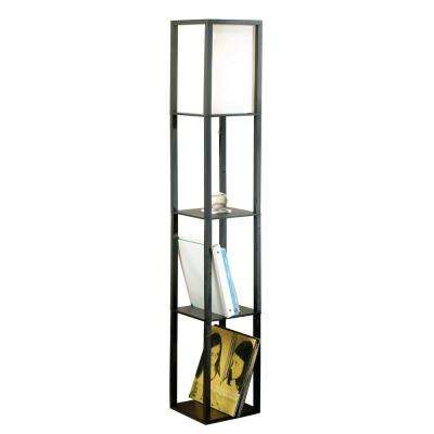 62.8 in. Black Square Etagere Floor Lamp with Ivory Fabric Shade