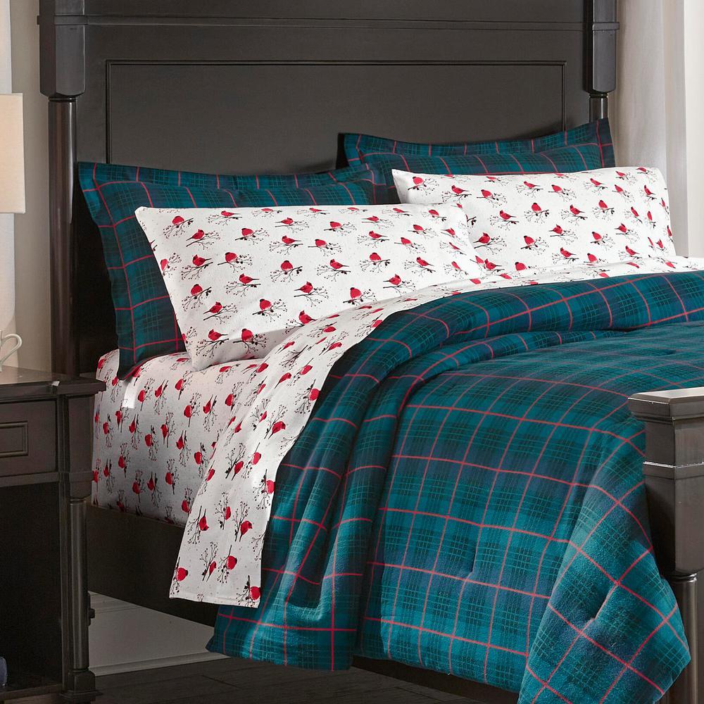 3-Piece Full/Queen Flannel Comforter Set in Winter Check Green