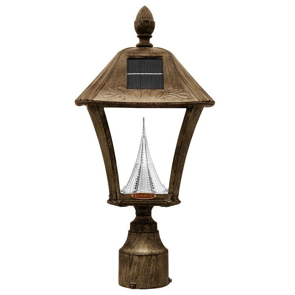 Gama Sonic Baytown Solar Weathered Bronze Outdoor Post Wall Light With Bright Warm