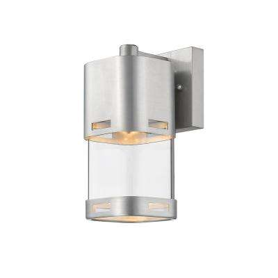 Noya 60-Watt Equivalent Outdoor Brushed Aluminum Integrated LED Wall Mount Sconce with Clear Glass Shade