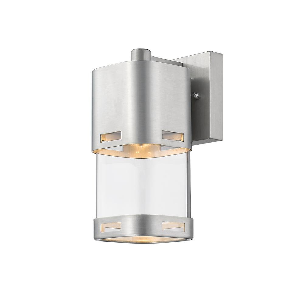 Filament Design Noya 60-Watt Equivalent Outdoor Brushed Aluminum Integrated LED Wall Mount Sconce with Clear Glass Shade