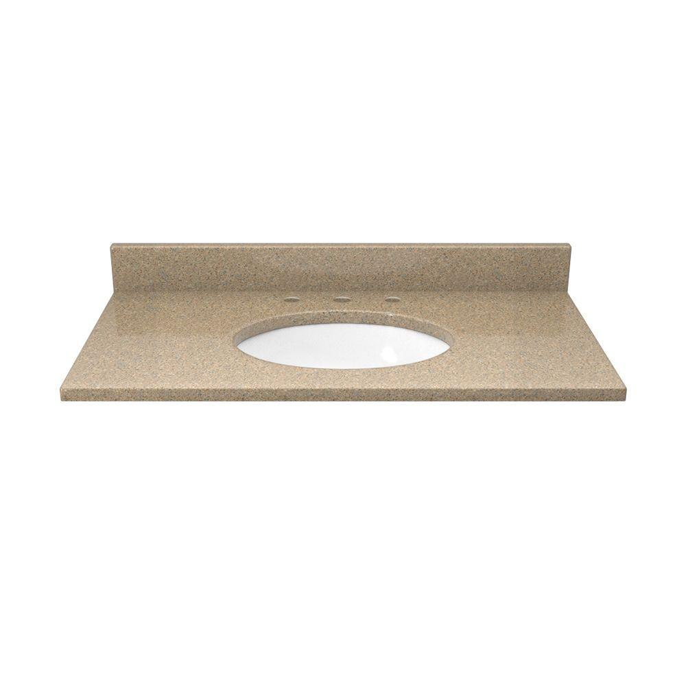 31 in. Quartz Vanity Top in Cognac and Cream with White