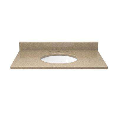 31 in. Quartz Vanity Top in Cognac and Cream with White Basin