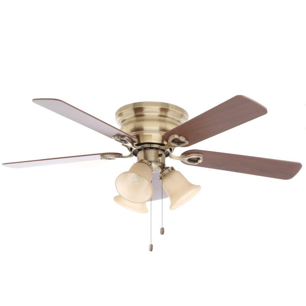 Indoor Antique Brass Ceiling Fan With Light Kit Cf544h Peh The Home Depot