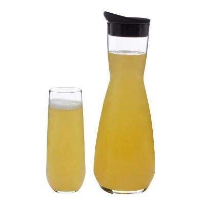 Modern Bar 5-Piece Clear Mimosa Glass Entertainment Set with Lid