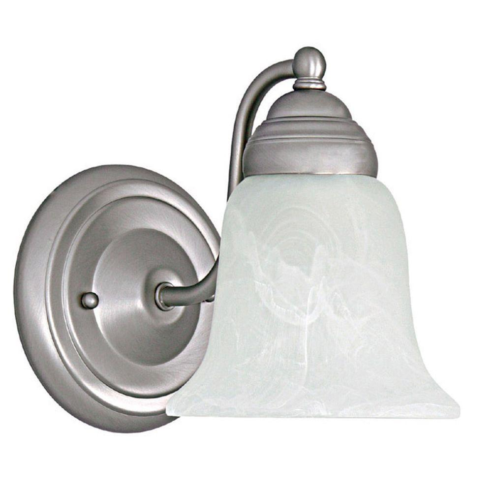 Filament Design 1-Light Matte Nickel Sconce with Faux White Alabaster Glass
