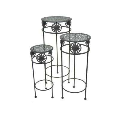 Grey Round Plant Stand (Set of 3)