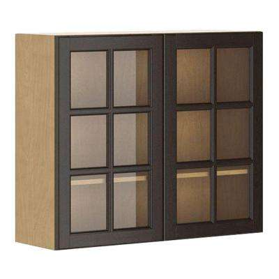 Naples Ready to Assemble 36 x 30 x 12.5 in. Wall Cabinet in Maple Melamine and Glass Door in Dark Brown