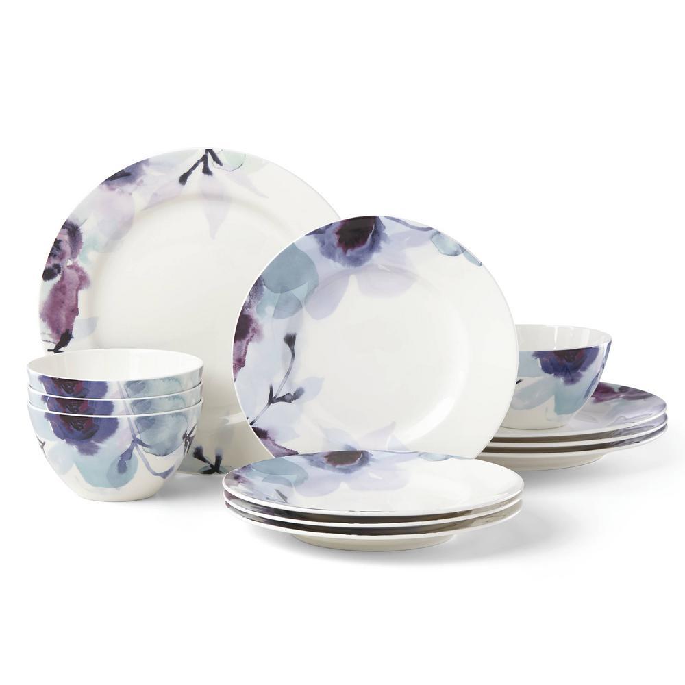 Indigo Watercolor Floral 12-Piece dinnerware set