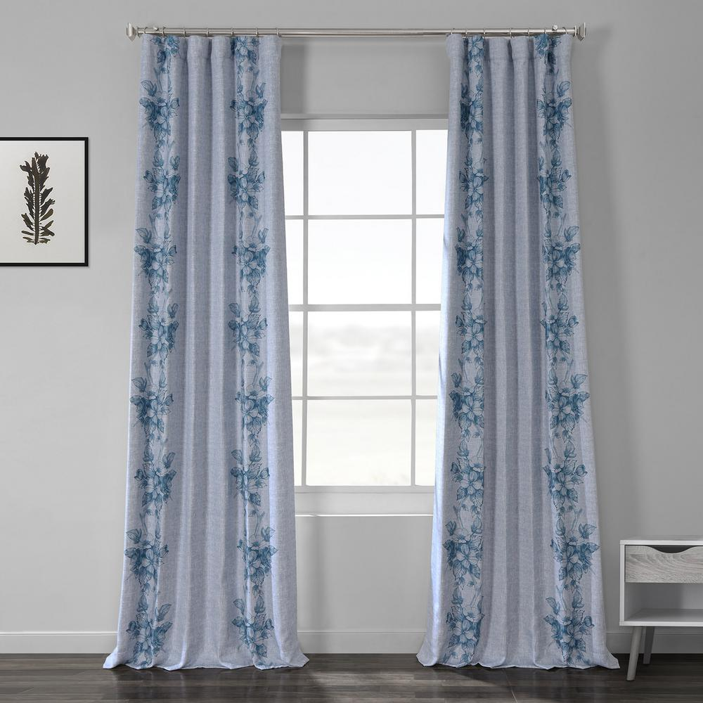 Exclusive Fabrics & Furnishings Copenhagen Blue Printed Linen Textured Blackout Curtain - 50 in. W x 84 in. L (1-Panel)
