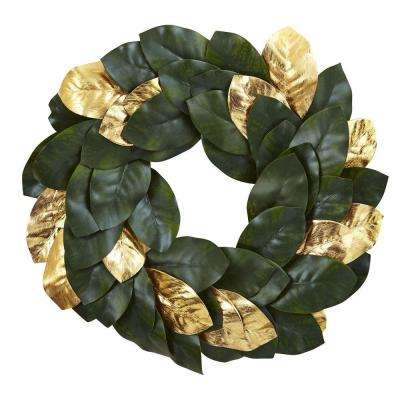 22 in. Golden Leaf Magnolia Artificial Wreath