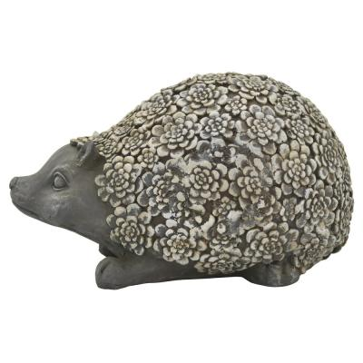 16 in. L x 10 in. W x 9 in. H Resin/Magnesium Hedgehog Garden Decoration in Gray