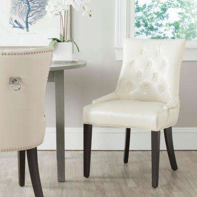 Harlow Flat Cream/Espresso Bicast Leather Side Chair (Set of 2)