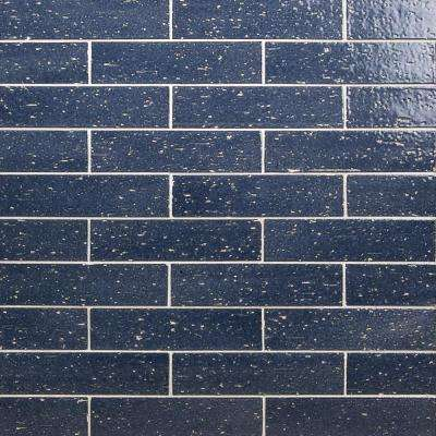 Rhythmic Nocturne Blue 2 in. x 9 in. 12mm Glazed Clay Subway Tile (30-piece 4.63 sq. ft. / box)