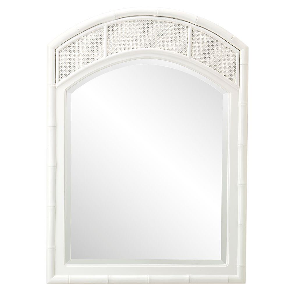 Home Decorators Collection Julia 36 in. H x 26 in. W Arched Mirror in White Frame-DISCONTINUED