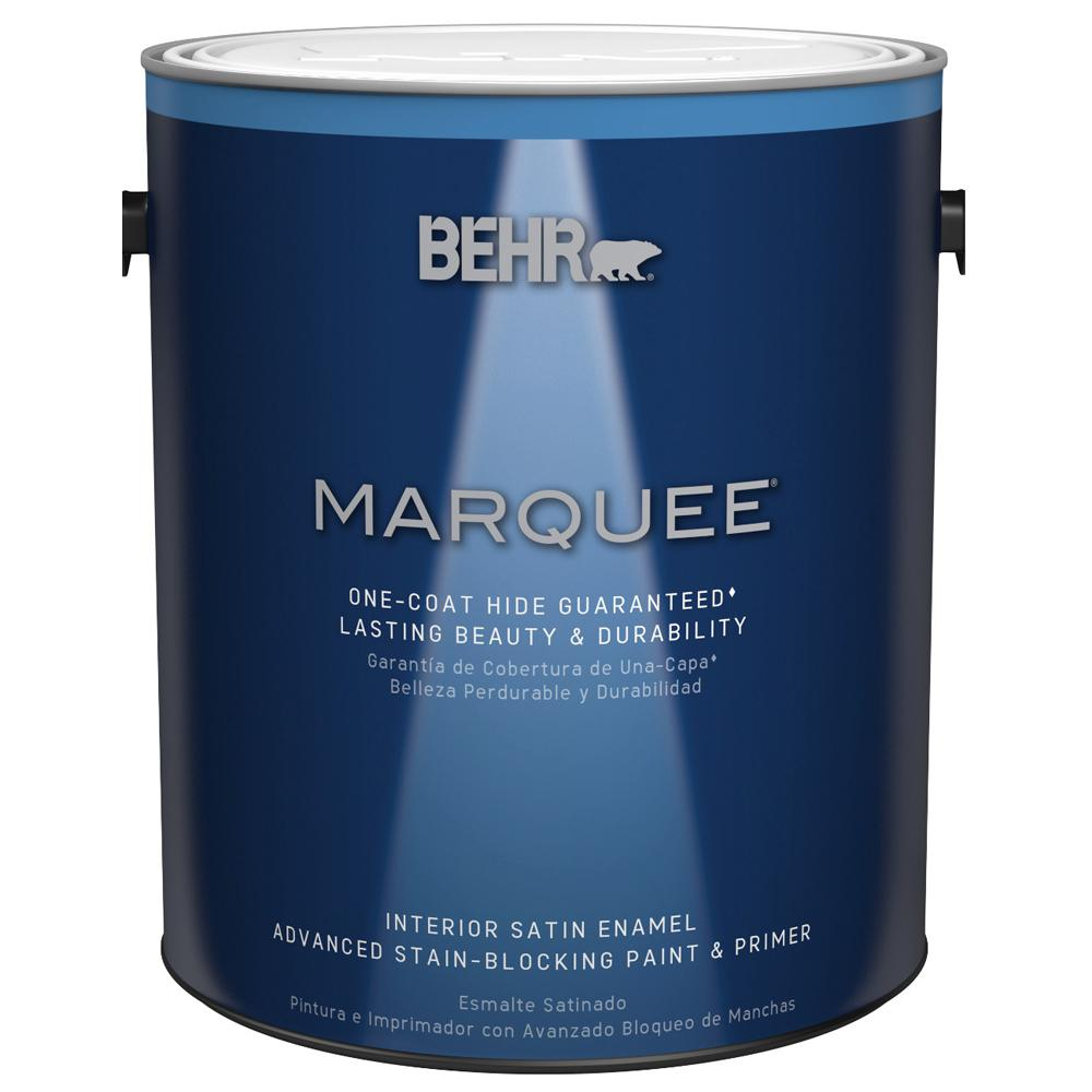 Behr marquee 1 gal ultra pure white satin enamel interior paint and primer in one 745001 the for Best exterior paint and primer in one
