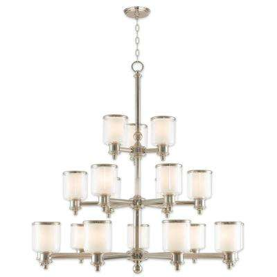 Middlebush 18-Light Polished Nickel Foyer Chandelier with Hand Crafted Clear and Satin Opal White Glass Shade