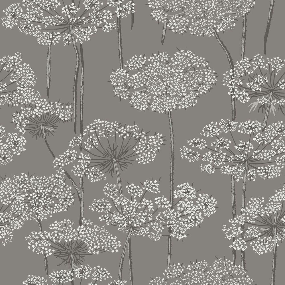 Charcoal Dandelion Meadow Wallpaper