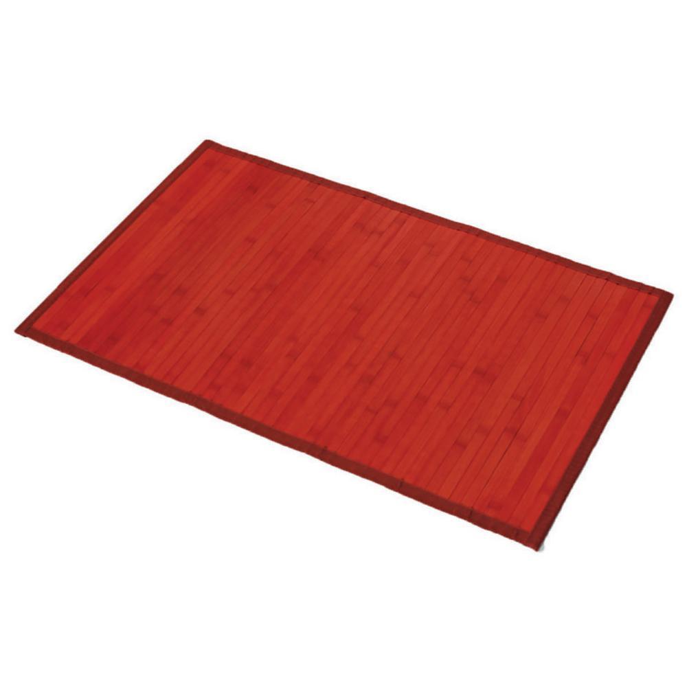 Red 31.5 in. L x 20 in. W Bamboo Rug Bath Mat Anti Slippery