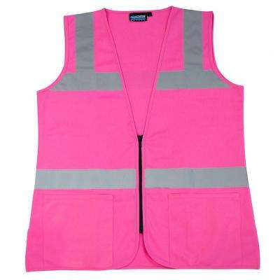 S721 L Non-ANSI Women's Fitted Poly Tricot Hi Viz Pink Vest
