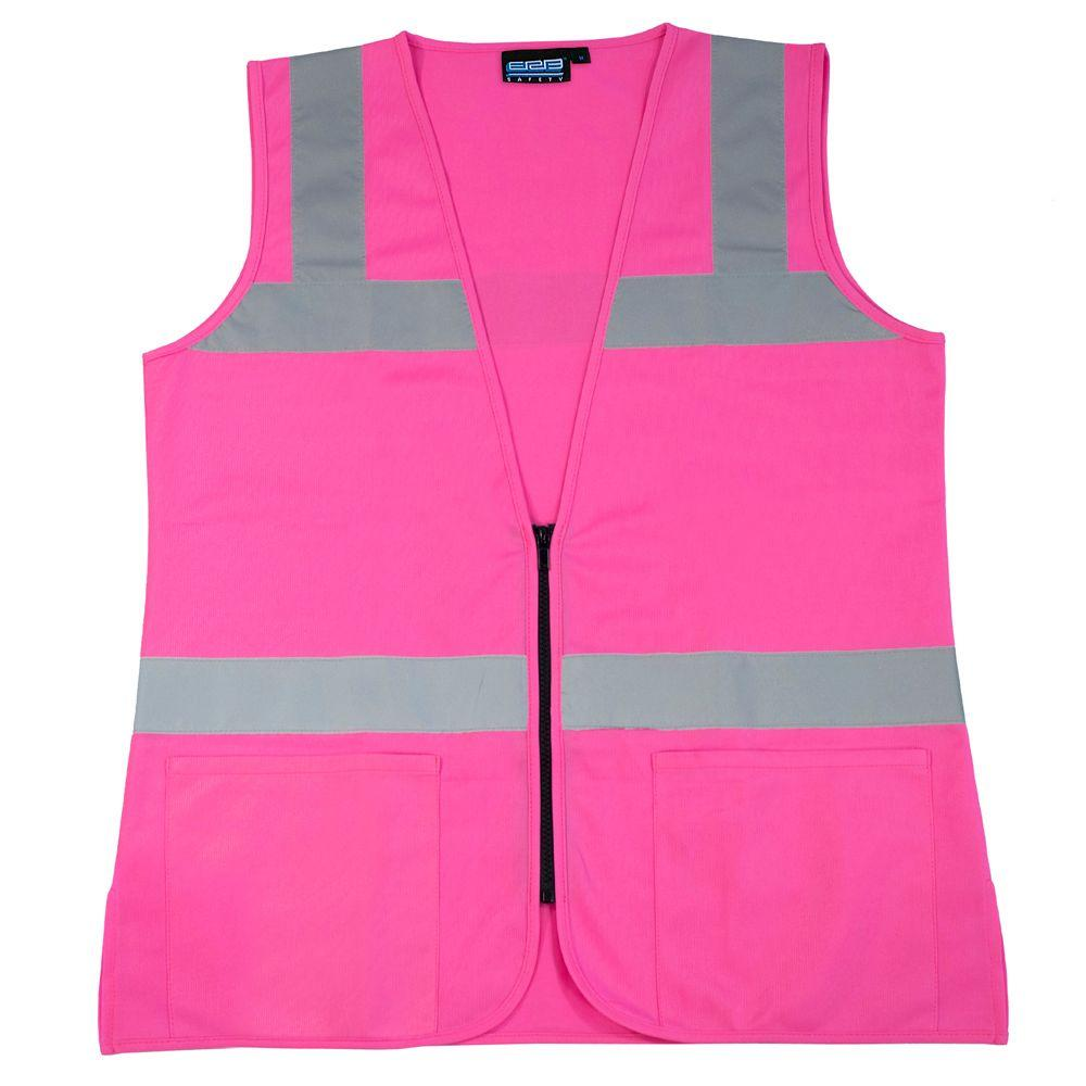 Girl Power At Work S721 L Non-ANSI Women's Fitted Poly Tricot Hi Viz Pink Vest