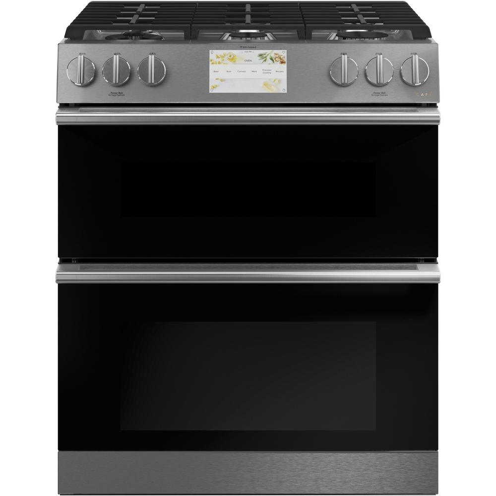Cafe 30 in. 7.0 cu. ft. Smart Slide-In Double Oven Duel Fuel Range with Self-Cleaning Convection Oven in Platinum Glass