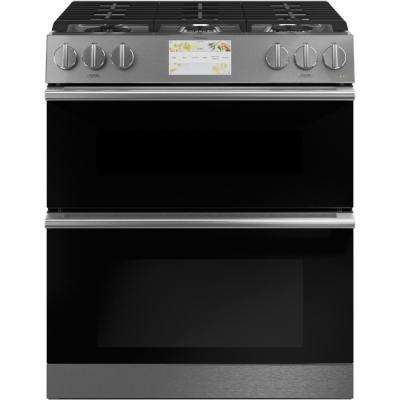 30 in. 7.0 cu. ft. Smart Slide-In Double Oven Duel Fuel Range with Self-Cleaning Convection Oven in Platinum Glass