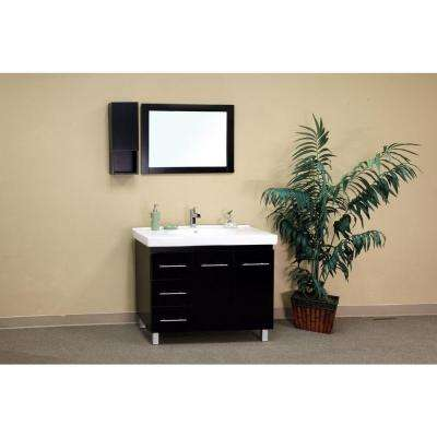 Palma 39 in. W Single Vanity in Black with Porcelain Vanity Top in White