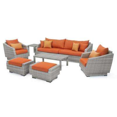 Cannes 8-Piece All-Weather Wicker Patio Sofa and Club Chair Seating Group with Sunbrella Tikka Orange Cushions