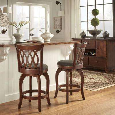 Loehr 24 in. Cherry Swivel Cushioned Bar Stool